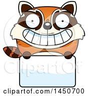 Cartoon Red Panda Character Mascot Over A Blank Sign