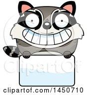 Cartoon Raccoon Character Mascot Over A Blank Sign