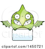 Poster, Art Print Of Cartoon Pterodactyl Character Mascot Over A Blank Sign