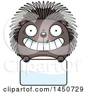 Cartoon Porcupine Character Mascot Over A Blank Sign