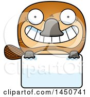 Clipart Graphic Of A Cartoon Platypus Character Mascot Over A Blank Sign Royalty Free Vector Illustration by Cory Thoman