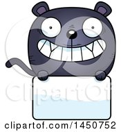 Clipart Graphic Of A Cartoon Black Panther Character Mascot Over A Blank Sign Royalty Free Vector Illustration by Cory Thoman