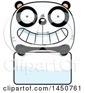 Clipart Graphic Of A Cartoon Panda Character Mascot Over A Blank Sign Royalty Free Vector Illustration by Cory Thoman