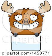 Clipart Graphic Of A Cartoon Moose Character Mascot Over A Blank Sign Royalty Free Vector Illustration