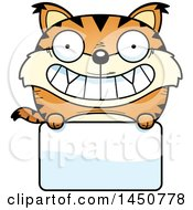Clipart Graphic Of A Cartoon Lynx Character Mascot Over A Blank Sign Royalty Free Vector Illustration