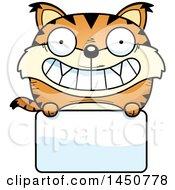 Cartoon Lynx Character Mascot Over A Blank Sign