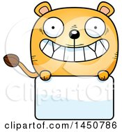 Clipart Graphic Of A Cartoon Lioness Character Mascot Over A Blank Sign Royalty Free Vector Illustration by Cory Thoman