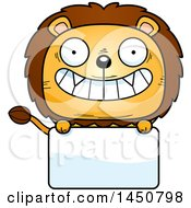 Clipart Graphic Of A Cartoon Male Lion Character Mascot Over A Blank Sign Royalty Free Vector Illustration