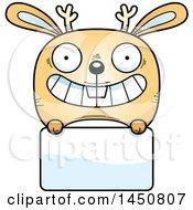 Cartoon Jackalope Character Mascot Over A Blank Sign