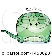 Clipart Graphic Of A Cartoon Sleeping Gecko Character Mascot Royalty Free Vector Illustration