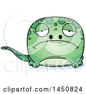 Clipart Graphic Of A Cartoon Sad Gecko Character Mascot Royalty Free Vector Illustration
