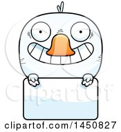 Clipart Graphic Of A Cartoon Duck Character Mascot Over A Blank Sign Royalty Free Vector Illustration by Cory Thoman