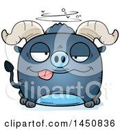 Cartoon Drunk Blue Ox Character Mascot