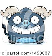 Cartoon Grinning Blue Ox Character Mascot