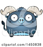 Cartoon Happy Blue Ox Character Mascot
