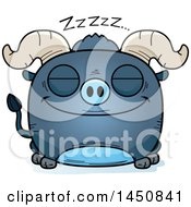Clipart Graphic Of A Cartoon Sleeping Blue Ox Character Mascot Royalty Free Vector Illustration