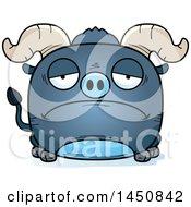 Cartoon Sad Blue Ox Character Mascot