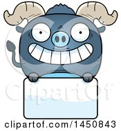 Clipart Graphic Of A Cartoon Blue Ox Character Mascot Over A Blank Sign Royalty Free Vector Illustration
