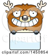 Cartoon Deer Character Mascot Over A Blank Sign