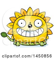 Clipart Graphic Of A Cartoon Grinning Dandelion Character Mascot Royalty Free Vector Illustration