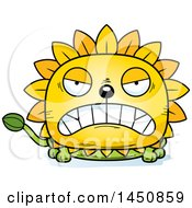 Clipart Graphic Of A Cartoon Mad Dandelion Character Mascot Royalty Free Vector Illustration