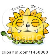 Clipart Graphic Of A Cartoon Sleeping Dandelion Character Mascot Royalty Free Vector Illustration