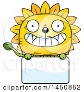Clipart Graphic Of A Cartoon Dandelion Character Mascot Over A Blank Sign Royalty Free Vector Illustration