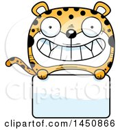 Clipart Graphic Of A Cartoon Leopard Character Mascot Over A Blank Sign Royalty Free Vector Illustration by Cory Thoman