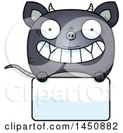 Clipart Graphic Of A Cartoon Chupacabra Character Mascot Over A Blank Sign Royalty Free Vector Illustration by Cory Thoman