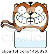 Clipart Graphic Of A Cartoon Chipmunk Character Mascot Over A Blank Sign Royalty Free Vector Illustration by Cory Thoman