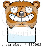 Cartoon Bear Character Mascot Over A Blank Sign