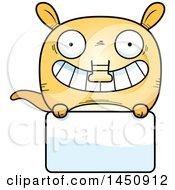 Cartoon Aardvark Character Mascot Over A Blank Sign