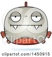 Clipart Graphic Of A Cartoon Bored Piranha Fish Character Mascot Royalty Free Vector Illustration