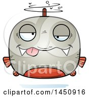 Clipart Graphic Of A Cartoon Drunk Piranha Fish Character Mascot Royalty Free Vector Illustration