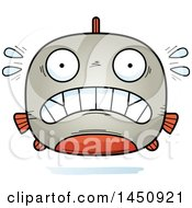 Clipart Graphic Of A Cartoon Scared Piranha Fish Character Mascot Royalty Free Vector Illustration