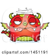 Clipart Graphic Of A Cartoon Drunk Dragon Character Mascot Royalty Free Vector Illustration
