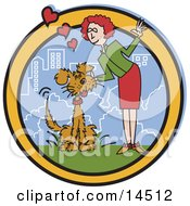 Gentle Woman And Dog In A City Park Clipart Illustration by Andy Nortnik