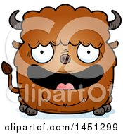 Clipart Graphic Of A Cartoon Happy Buffalo Character Mascot Royalty Free Vector Illustration by Cory Thoman