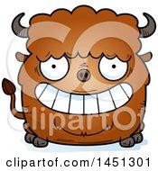 Cartoon Grinning Buffalo Character Mascot