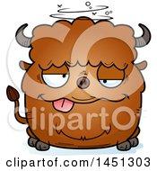 Cartoon Drunk Buffalo Character Mascot
