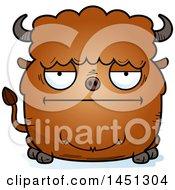 Cartoon Bored Buffalo Character Mascot