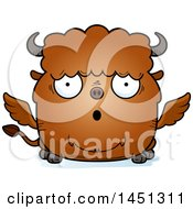 Clipart Graphic Of A Cartoon Surprised Winged Buffalo Character Mascot Royalty Free Vector Illustration