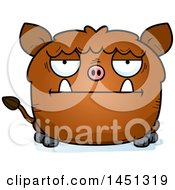 Cartoon Bored Boar Character Mascot