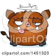 Cartoon Drunk Boar Character Mascot