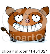 Cartoon Grinning Boar Character Mascot