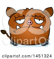 Cartoon Sad Boar Character Mascot