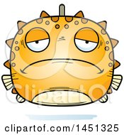 Clipart Graphic Of A Cartoon Sad Blowfish Character Mascot Royalty Free Vector Illustration