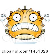 Clipart Graphic Of A Cartoon Scared Blowfish Character Mascot Royalty Free Vector Illustration