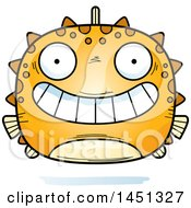Clipart Graphic Of A Cartoon Grinning Blowfish Character Mascot Royalty Free Vector Illustration by Cory Thoman
