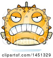 Clipart Graphic Of A Cartoon Mad Blowfish Character Mascot Royalty Free Vector Illustration